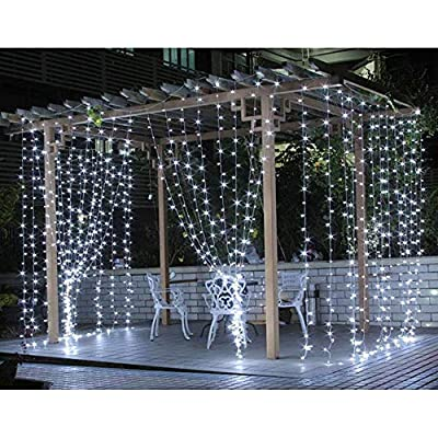 8-Modes-Curtain-Lights-9.8x9.8-Foot-300LED-Curtain-String-Lights-Fairy-Lights-for-Home-Garden-Bedroom-Wedding-Party-Backdrops-Decor-with-Full-Waterproof-and-UL-Safety-White