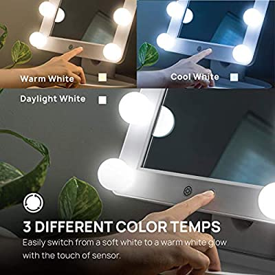 Makeup-Mirror-Hollywood-Style-Vanity-Mirror,-12-Large-LED-Light-Bulbs-with-3-Light-Settings,-Dimmable-Lighting,-Power-Adapter-(White)