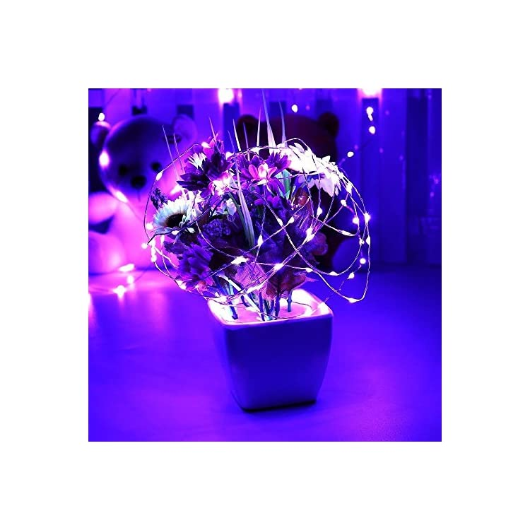 Remote-Battery-Operated-40ft-240-Led-String-Lights-Silver-Wire-8-Lighting-Model-LED-Starry-Light-with-13-Key-Remote-Control-For-Christmas-Wedding-and-Party(Purple)