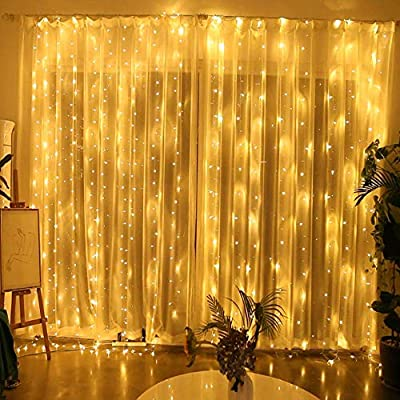 6.6FT-X-6.6FT-Window-Curtain-Lights-Battery-Powered-Indoor-Curtain-String-Light-for-Bedroom-Outdoor-Decor,-Sound-Activated-Music-Sync-Light-Waterproof-Waterfall-Icicle-Lights-(Warm-White)