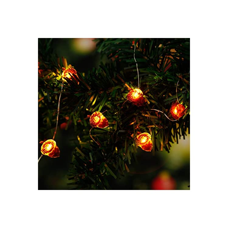 Christmas-LED-String-Lights-Acorn-Lights-String-Pinecone-Fairy-String-Lights-10ft-30/40-LED-Battery-Powered-with-Remote-for-Thanksgiving,-Wedding,-Birthday,-Indoor,-Fireplace-Christmas-Decorations
