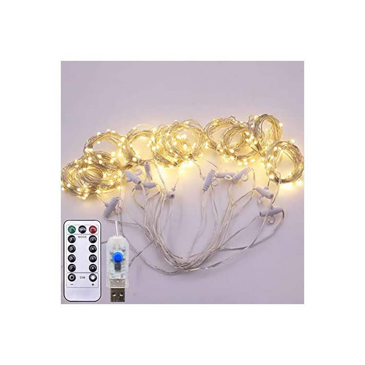 LED-Curtain-Lights-USB-Powered-Fairy-String-Lights-with-Remote,-IP64-Waterproof-Decorative-Lights-String-for-Garden-Yard,-Parties,-Wedding-Outdoor-Indoor-Wall-Decorations-(Warm-White)