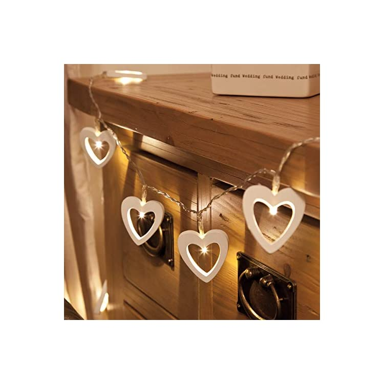 Indoor-Fairy-Lights---Wooden-Heart-Shape---Battery-Powered---Timer-Function---10-Warm-White-LEDs---6ft