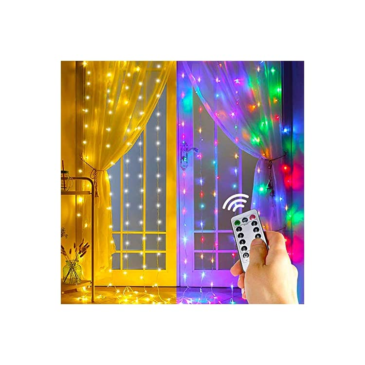 2-Color-Twinkle-Star-Window-Curtain-String-Light,-Warm-White-&-Multicolor-300LED-Fairy-Starry-Lights-USB-Powered-Remote-&-Timer-Waterfall-Fairy-Lights-for-Bedroom-Wall-Indoor-Outdoor