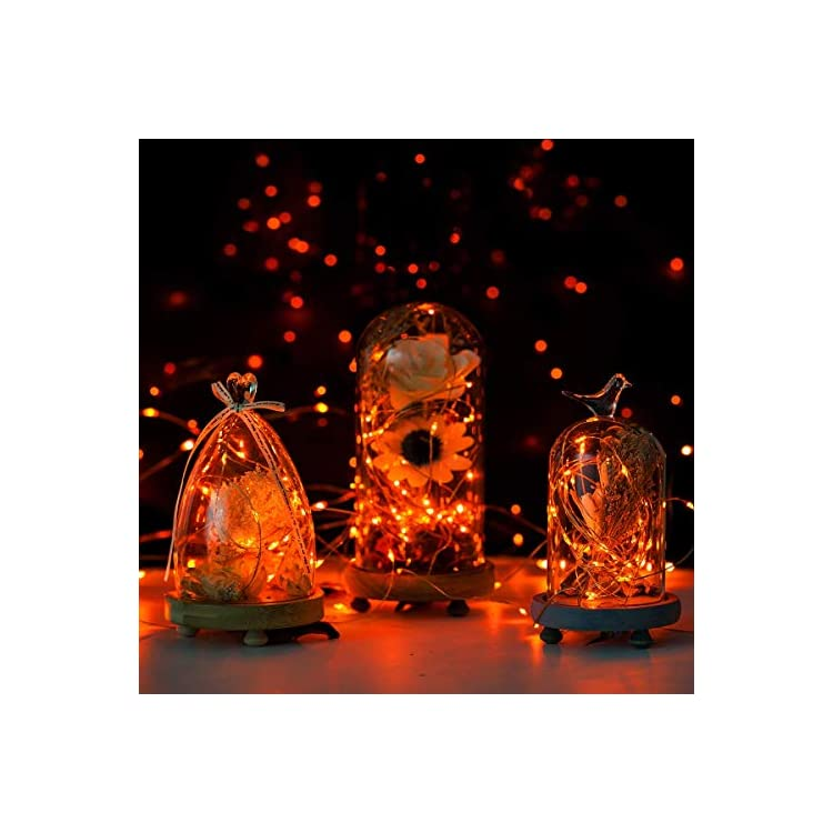 Fairy-Lights-16.5ft-50-LED-String-Lights-Battery-Operated-with-Remote-Waterproof-Copper-Wire-Lights-for-Indoor-Decorative-Lights-(Orange)