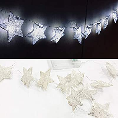 Battery-Powered-Fairy-String-Lights---Metallic-Star-Type-10P-(White)-String-Lights-for-Christmas,-Home,-Garden,-Wedding,-Party,-Room,-Holiday-Decor,-Centerpiece,-Xmas-Tree-Decorations