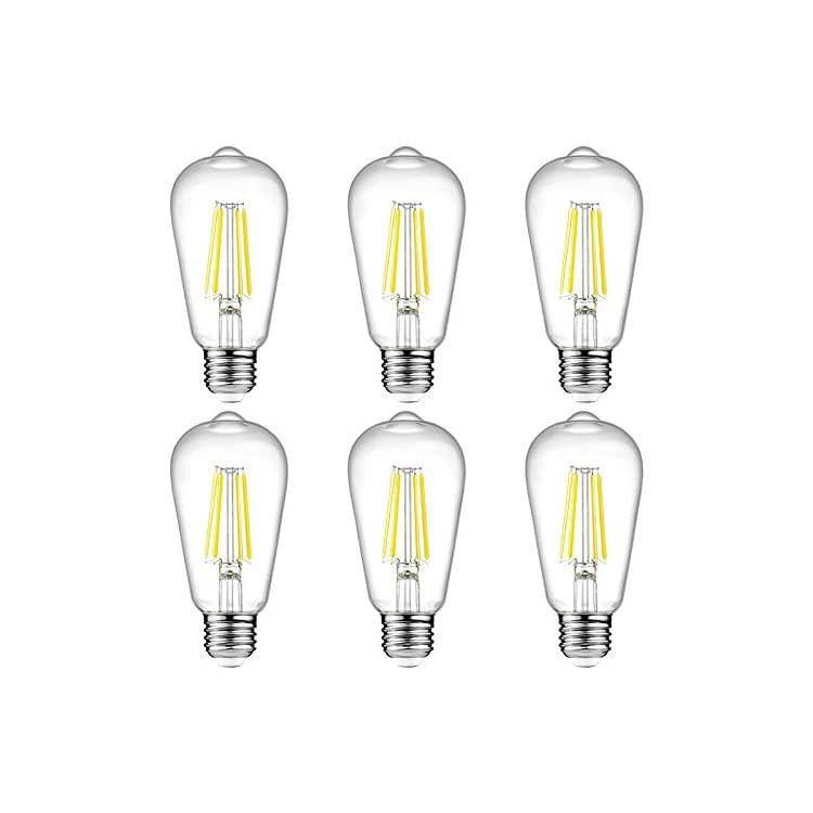 Vintage-LED-Edison-Bulbs,-6W,-Equivalent-60W,-High-Brightness-Daylight-White-4000K,-ST58-Antique-LED-Filament-Bulbs,-E26-Medium-Base,-Non-Dimmable,-Clear-Glass,-Pack-of-6