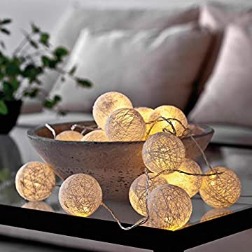 LED-String-Lights-Cotton-Braided,-Fairy-Decorative-Lighting-Ambience-Warm-Nordic-Style-3M-20LED-Waterproof-Flexible-with-Remote-Control-8-Lighting-Modes-(Snow-Pear)