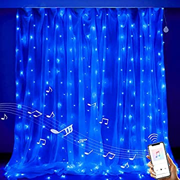 Blue-Speaker-Music-Sound-Lights-304-LED-9.8ftx9.8ft-30V-8-Modes-with-Memory-Window-Curtain-Fairy-String-Lights-for-Wedding-Party-Home-Bedroom-Outdoor-Indoor-Wall-Decorations-(Blue)