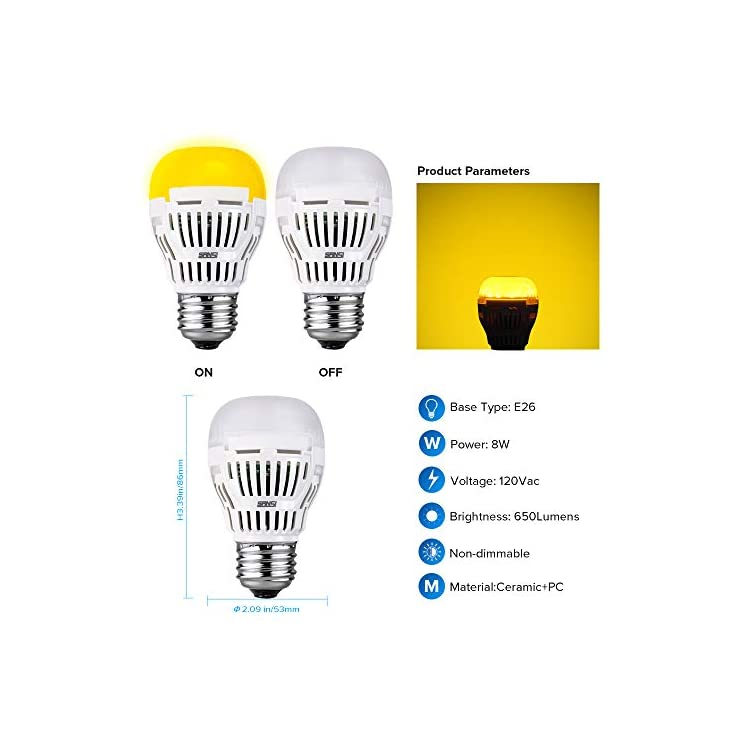 LED-Light-Bulb-Yellow-Color-Bulb,-8W-2700K-Outdoor-Porch-Lights,-Non-dimmable,-650lm-E26-Amber-Bedroom-Night-Light-Bulb-for-Festival-Decoration-Porch-Yard-Hallway,-2-Pack