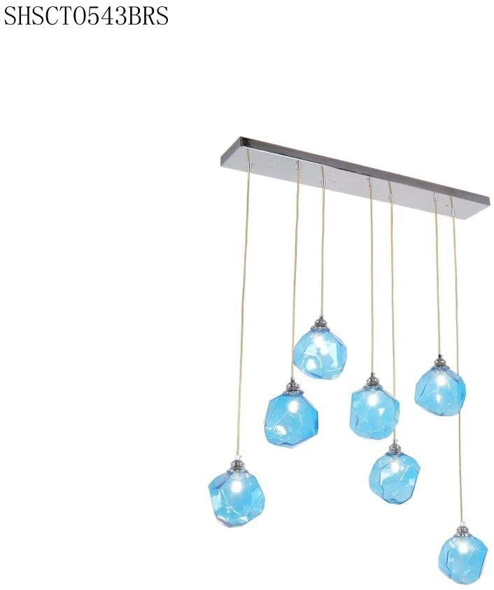 FFSHSCTO543CHBL-Bazel-Kitchen-Pendant-Light,-Chrome/Blue-Glass