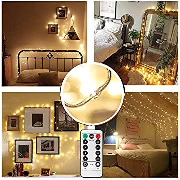 Full-Waterproof-Micro-Led-String-Lights-with-Remote-on-33ft-Clear-Soft-String,-100LED-8-Modes,-Dimmable-UL-Certified-Plug-in-Christmas-Outdoor-Indoor-Fairy-Lights-(Warm-White)