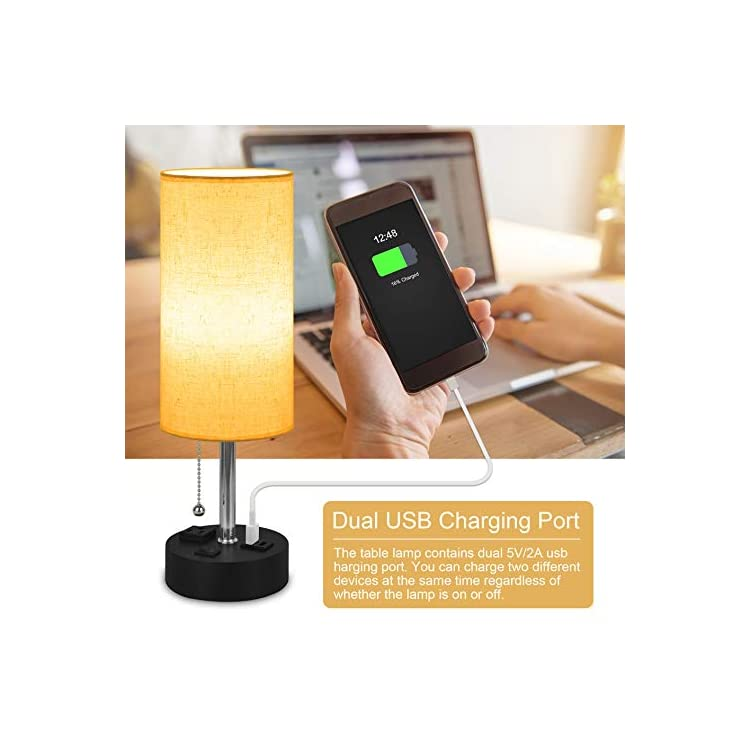 USB-Bedside-Lamp---Nightstand-Lamp-with-Charging-Ports,Night-Table-Lam
