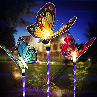 Outdoor-Solar-Garden-Lights,-Solar-Stake-Lights,Fiber-Optic-Butterfly-