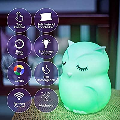 LED-Nursery-Night-Lights-for-Kids:-Baby-Gifts,-Cute-Animal-Silicone-Baby-Night-Light-with-Touch-Sensor---Portable-and-Rechargeable-Color-Changing-Lamps-for-Bedrooms
