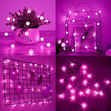 5-Pack-Battery-Operated-Fairy-String-Light-6.6-ft-20-Crystal-ball-LED-Fairy-String-Lights-Waterproof-Copper-Wire-Starry-String-Lights-Firefly-Lights-for-DIY-Wedding-Party-Christmas-Decor-(Pink)