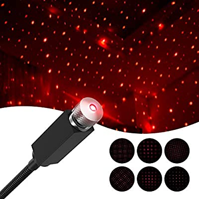 Star-Projector-Night-Light-Adjustable-Romantic-Galaxy-Flexible-USB-Interior-Car-Lights,-Portable-Night-Lamp-Decorations-for-Ceiling,-Bedroom,-Party-and-More-(Black)
