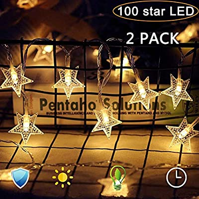 Star-String-Lights,-100-LED-33-Ft-8-Modes,-Plug-in-Fairy-Twinkle-Lights-Waterproof-for-Outdoor,-Indoor,-Wedding-Party,-Christmas-Tree,-New-Year,-Garden-Decoration,-Bedroom-(Warm-White)