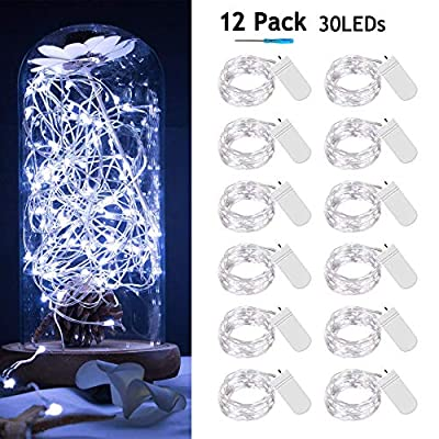 [12-PACK]Fairy-Lights-Battery-Operated-30-Micro-Leds-Mini-Starry-String-Lights-10ft-Silvery-Copper-Wire-Lights,2pcs-CR2032(Incl),Works-for-Wedding-Centerpiece,Party,Table-Decorations(Cool-White)
