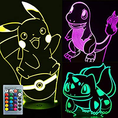 Pikachu-Toys-Night-Light---3D-Illusion-Lamp-Three-Patterns-and-16-Color-Change-Decor-Lamp-with-Remote-Control,-Christmas-Gifts-for-Kids,-Boys,-Girls