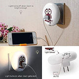 Plug-in-Night-Lights,-Cute-Owl-Dual-USB-Outlet-LED-Nightlight-Dusk-to-Dawn-Sensor-Wall-Lamp-Charger-Station-Búho-Decor-Good-Night-Light-for-Kids-Sleep-Bedroom-Living-Room-Office-(2-Packs-Warm-White)