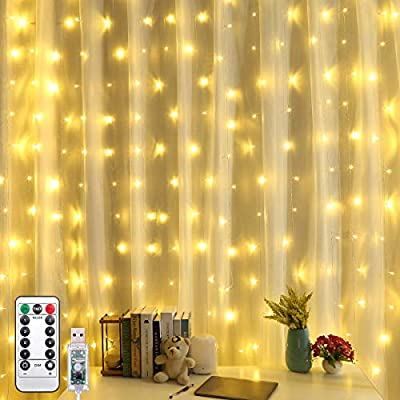 Upgraded-Curtain-String-Lights,-304-LED-USB-Powered-String-Lights,-8-Lighting-Modes-Icicle-Lights,-Indoor-Outdoor-Decorative-Lights-for-Wedding,-Homes,-Party,-Bedroom,-Garden-(9.8-x-9.8-ft)