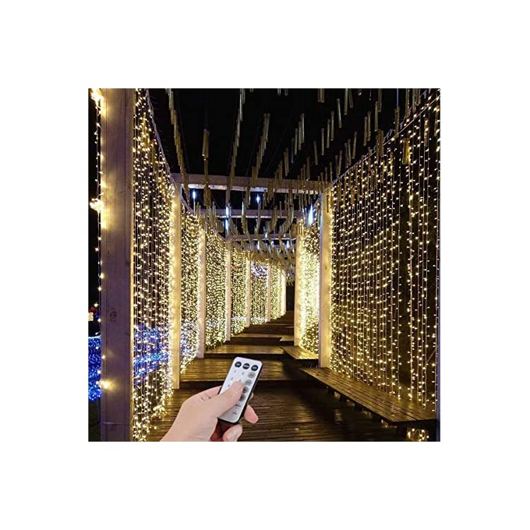 300-LED-9.8FT-Connectable-Curtain-Lights-Fairy-String-Twinkle-Lights-with-8-Modes-for-Christmas-Wedding-Party-Outdoor-Indoor-Wall-Decorations,-Warm-White