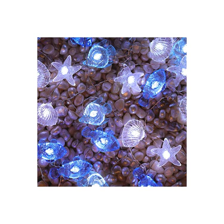 Multi-Sealife-String-Lights-Crystal-Nautical-Theme-13.85-Ft-40-LED-Battery-Powered-Cool-White-Beach-Lights-with-Remote-Control-for-Porch-Wedding-Bedroom-Birthday-Party-Decoration