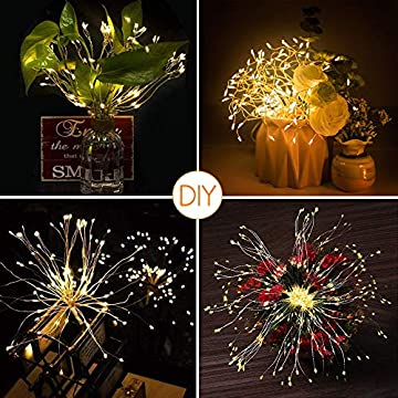 Firework-Fairy-Lights,-2-Pack-200-LED-Starburst-String-Lights-Battery-Operated-Dadelion-Shape-8-Modes-Waterproof-Hanging-Lights-with-Remote-Control-for-Garden-Party-Wedding-Decoration-(Warm-White)