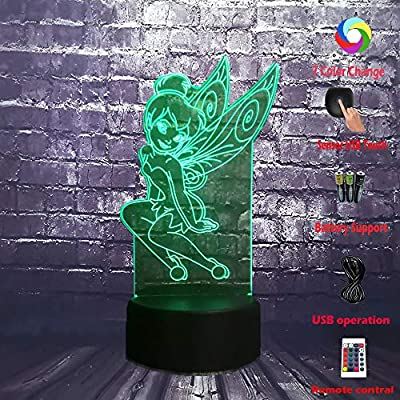 Tinker-Bell-Lamp-3D-Optical-Cartoon-Elves-Girl-LED-Bulb-7-Color-USB-Remote-Change-Night-Light-for-Girl-Room-Decor-Mood-Luster-Christmas-Holirday-Kid-Toy-Gift-for-Teenage(Fly-Tinker-Bell)