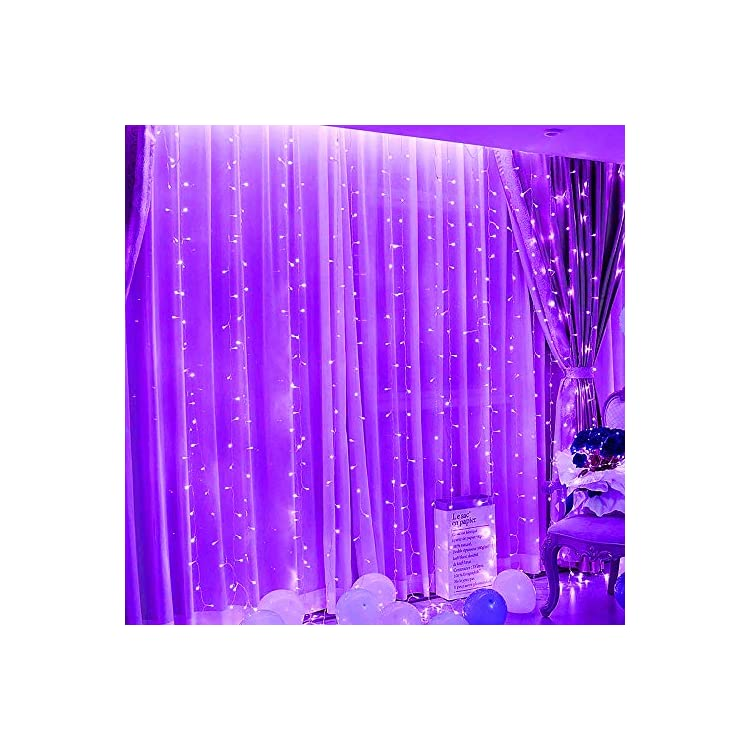 300-LEDs-Curtain-String-Lights,9.8ftx9.8ft-USB-Powered-Copper-Wire-Fairy-Window-Lights,-Remote-Timer-Control-8-Modes-Twinkle-Lights-for-Kids-Bedroom-Wedding-Wall-Decorations--Purple