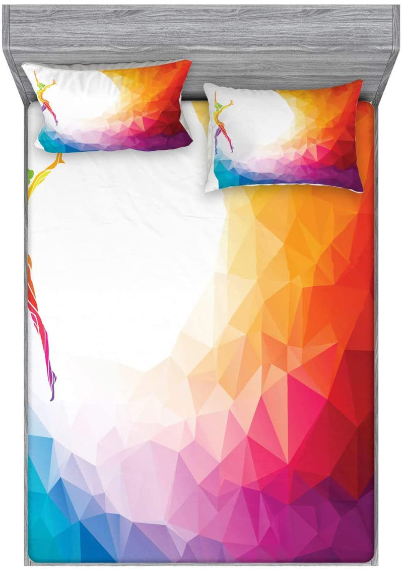 Ambesonne-Sports-Fitted-Sheet-&-Pillow-Sham-Set,-Gymnastics-Girl-Gymna