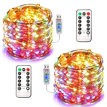 Fairy-Lights-2-Pack-33FT-100-LED-Christmas-Lights-with-Remote-Control-&-Timer-Waterproof-8-Mode-Adjustable-Copper-Wire-String-Lights-for-Party-Wedding-Patio-Indoor-Outdoor-Decoration,-Colorful