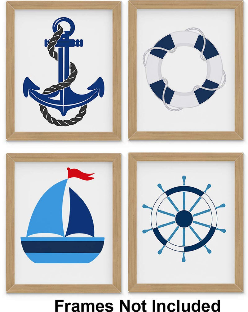 Nautical-Nursery-Decor,-Set-of-Four-8-x10-inch-Unframed-Art-Prints---G