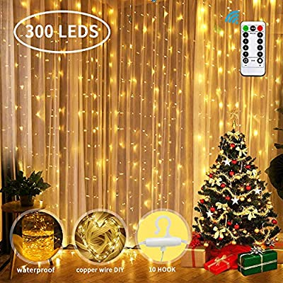 Window-Curtain-String-Light,-Ifecco-USB-Powered-300-LED-Curtain-Icicle-Lights-Fairy-String-Lights-with-8-Modes-for-Curtain-Christmas-Wedding-Home-Party-Outdoor-Indoor-Wall-Decorations-(Warm-White)