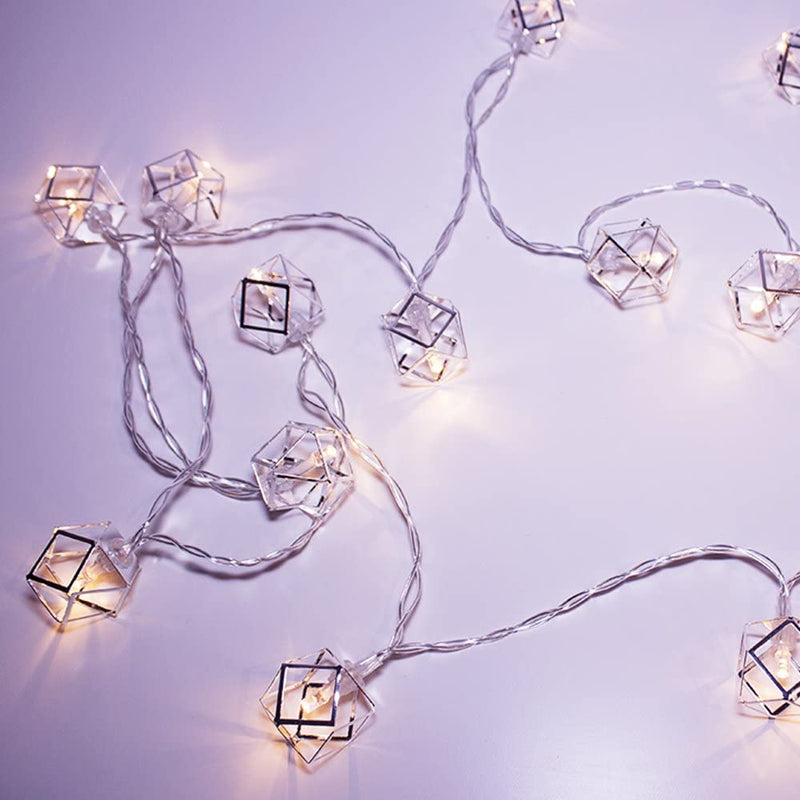 Geo-Silver-Pendant-String-Lights-Batteries-Included-with-20-Caged-Silv