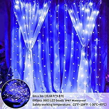 Curtain-Icicle-Lights-600LED-Blue-Window-Backdrop-Light-with-Remote-Bedroom-String-Light-Outdoor/Indoor-Fairy-Lighting-8-Mode-for-Garden-Wedding