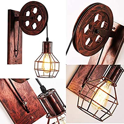 1-Light-Fixture-Industrial-Mid-Century-Retro-Iron-Wall-Lights-Lift-Pulley-Wall-Lamp-Features-The-Matte-Iron-Cage-Lamp-Shade-for-Indoor-Lighting-Barn-Restaurant-(Rust-Color)