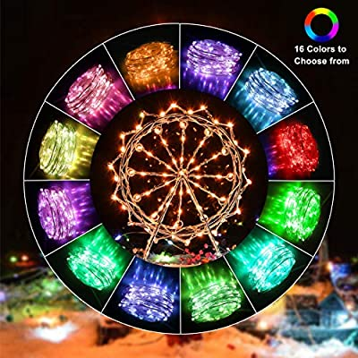 Fairy-Lights-100-LED-33-FT-Christmas-Lights-USB-&-Battery-Operated-String-Lights,-16-Colors-Changing-Silver-Wire-Multi-Color-Fairy-Lights-with-Remote-Control-for-Party-Halloween-Christmas