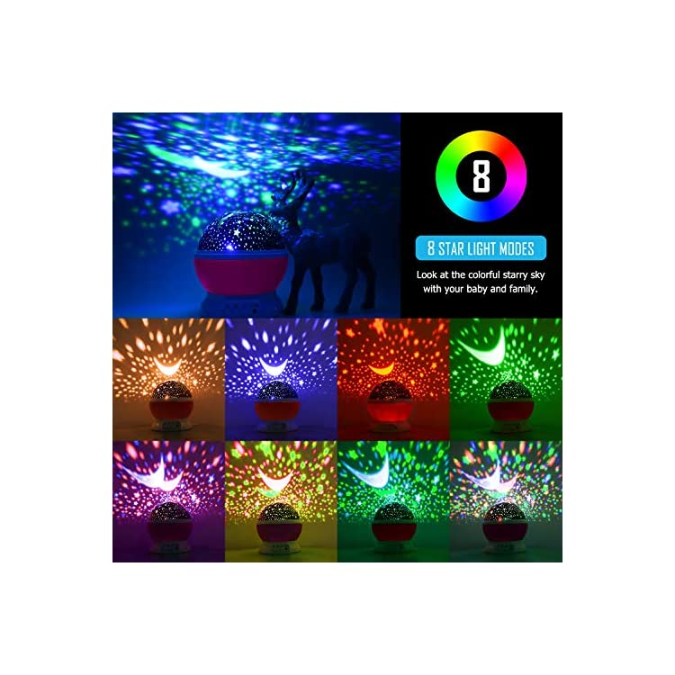 Star-Night-Light-Projector,-Baby-Lights-with-4-LED-Bulbs-8-Light-Color-Changing-with-USB-Cable-360-Degree-Romantic-Room-Rotating-Star-Projector-for-Baby-Kid-Children-Bedroom-Decor