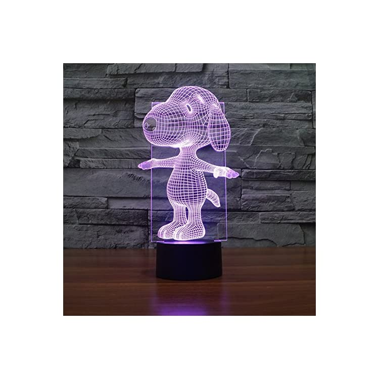 Snoopy-3D-Lamp-Night-Light-Touch-Table-Desk-Lamps,-Elstey-7-Color-Chan