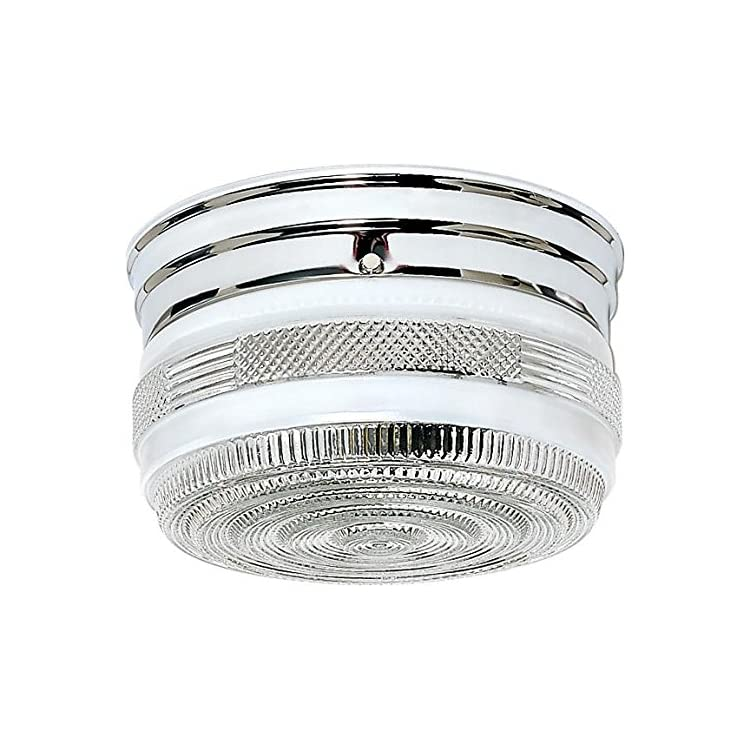 SF77/101-Two-Light-Flush-Mount,-Polished-Chrome/White-Crystal-Glass