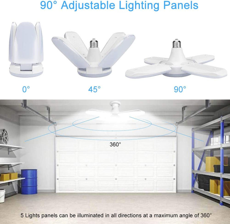LED-Garage-Lights-2-Pack-60W-E26/E27-6000LM,-Deformable-LED-Garage-Cei