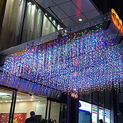 LED-Icicle-Light,-13Ft/4M-96-LEDs-8-Modes-Extendable-Twinkle-Curtain-Light-Plug-in-Fairy-String-Light-Christmas-Light-for-Bedroom-Patio-Yard-Garden-Wedding-Party-(4M-96LED,-Multicolor)