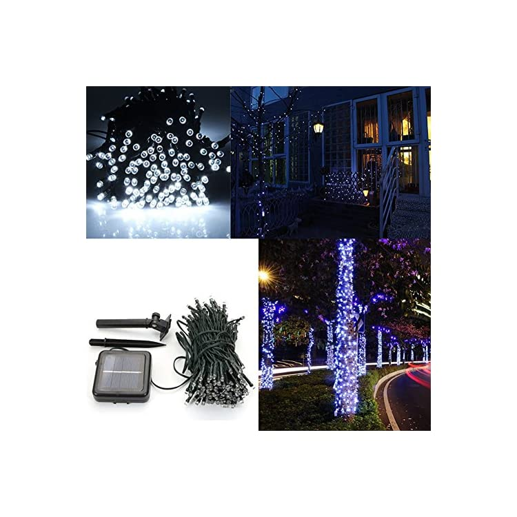 Solar-Powered-String-Lights-66FT-200LEDs-2-Modes-Solar-Starry-Decorative-Lighting-Waterproof-Christmas-Fairy-String-Lights-for-Garden-Path-Homes-Wedding-Party-Indoor/Outdoor-Decor,White