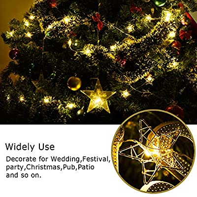 Golden-Star-String-Lights,-Battery-Powered-16.4ft-50-LEDs-Indoor-Starry-Fairy-Lights,-8-Modes-Metal-Design-Window-Curtain-Decorative-Lights-for-Party-Wedding-Bedroom,-Warm-White