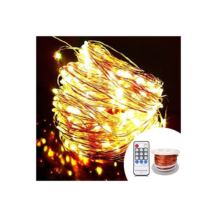 Copper-LED-Fairy-Lights,-(80-Ft,-240-LEDs,-Warm-White,-UL-Listed-Power-Adapter),-Room-Lights,-Garland-Lights-with-Remote-for-Wedding,-Xmas,-Outdoor-and-Indoor-Room-Decor