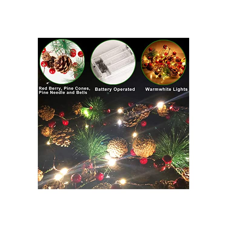 20-LED-Christmas-String-Lights,-7-ft-Pinecone-Red-Berry-Bell-Xmas-Garland-with-Lights-Battery-Operated-Fairy-String-Lights-with-Pine-Cone-Indoor-Outdoor-Holiday-Christmas-New-Year-Party-Decorations