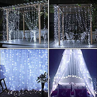 Window-Curtain-Lights,29V-306-LED-9.8-x-9.8-feet-with-8-Lighting-Modes-Christmas-String-Fairy-Lights-for-Wedding,-Home,-Garden,-Party,-Festival,-Holiday-Decor.(White)