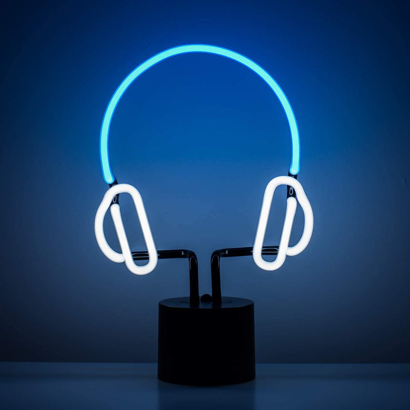Headphones-Neon-Desk-Light,-Real-Neon,-Blue-and-White,-Large-13x9-inch